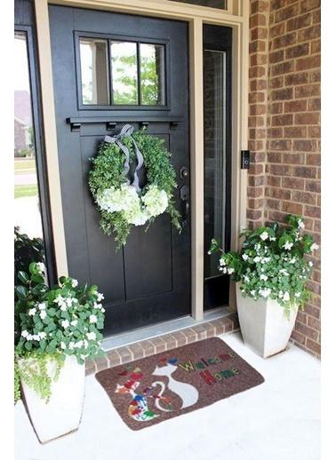 Giz Home Giz Home Boyalı/Megan 40X60 Polyemid Iki Kedi Desenli Renkli Kapı Paspası Renkli
